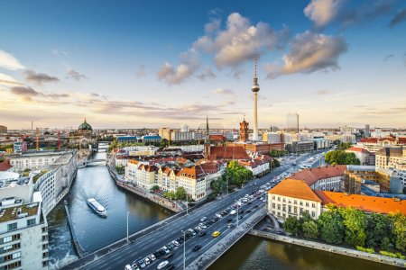 Photo for Berlin, Germany viewed from above the Spree River. - Royalty Free Image