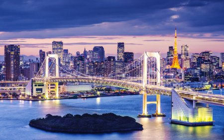 Photo for Tokyo Bay at Rainbow Bridge. - Royalty Free Image