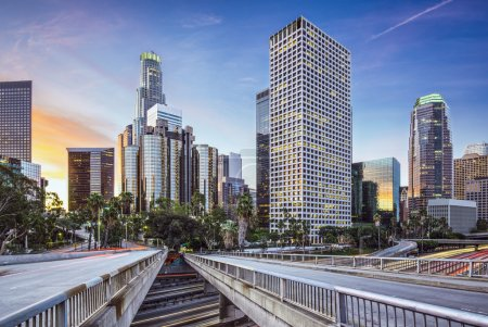 Photo for Los Angeles, California, USA early morning downtown cityscape. - Royalty Free Image