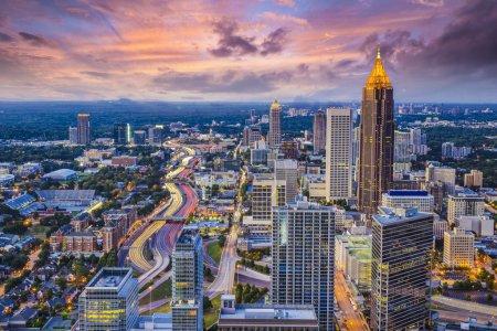 Atlanta, Georgia downtown aerial view....
