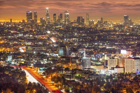 Photo for Los Angeles, California, USA downtown skyline at night. - Royalty Free Image