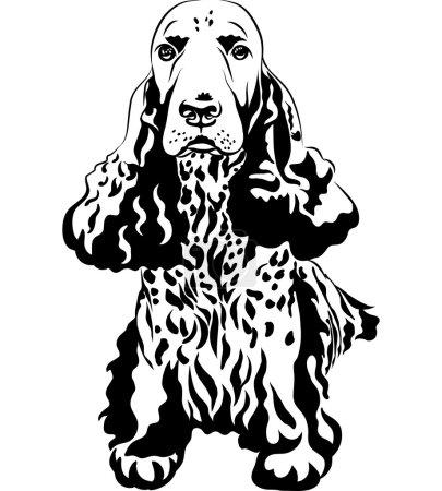 Black and white sketch gun dog English Cocker Spaniels sitting