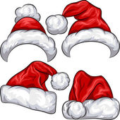 Vector set red Christmas Santa Claus hats isolated on white background
