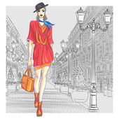 Attractive fashion girl in hat with bag in sketch-style goes for St Petersburg
