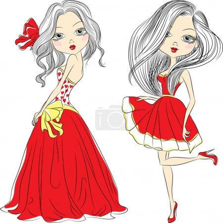 Vector set beautiful fashion girls in red dresses