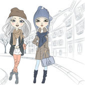 Beautiful fashion girls in autumn and winter clothing