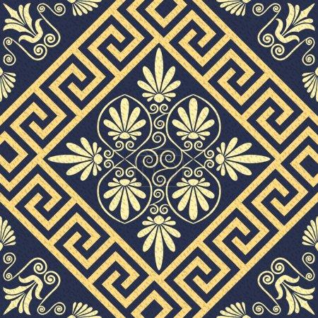 vector Seamless vintage gold Greek ornament (Meander)