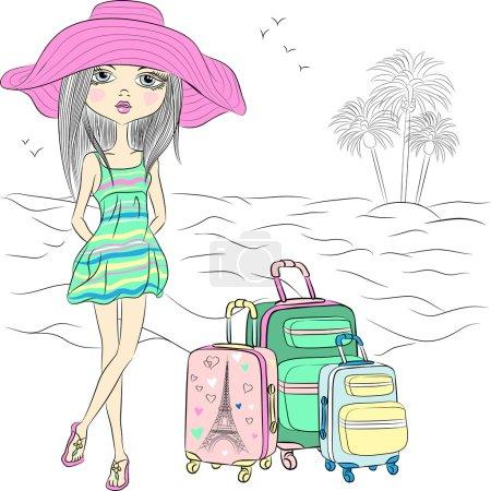 Vector beautiful fashion girl on sea beach
