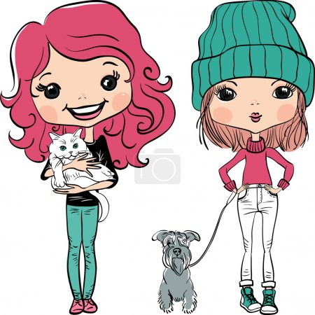 Vector hipsterl fashion cute girl wit pets