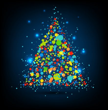Vector Christmas tree with dots and stars.