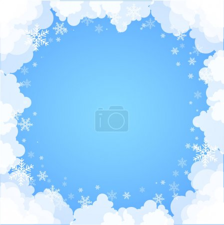 Frame made ff clouds. Abstract Background. Winter theme