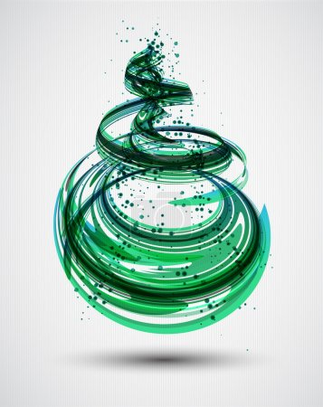 Illustration for Abstract Green Spiral Background. Vector - Royalty Free Image