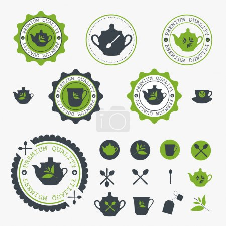Illustration for Set of tea lable. Vector - Royalty Free Image