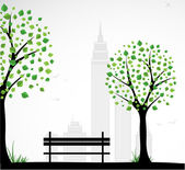 City theme Background with abstract tree Vector