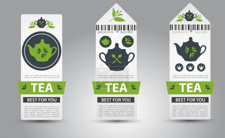 Illustration for Set of tea labels. Vector - Royalty Free Image