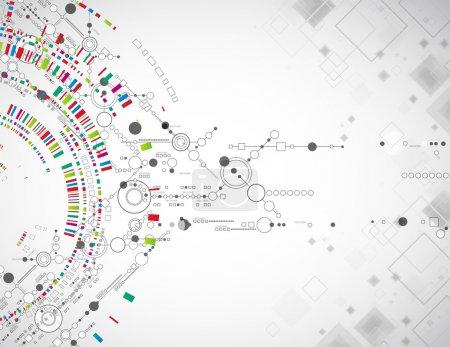 Illustration pour Contexte technologique abstrait avec divers éléments technologiques - image libre de droit