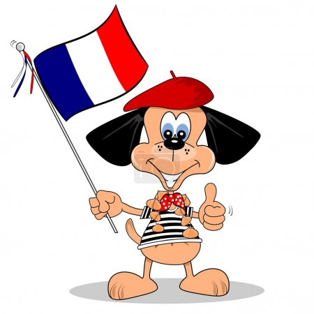 Illustration for A cartoon dog holding the French flag - Royalty Free Image