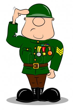 A saluting cartoon soldier
