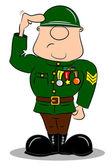 A saluting cartoon soldier