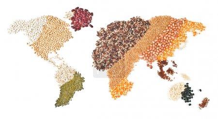Photo pour Aliments mondiaux sur fond blanc - image libre de droit