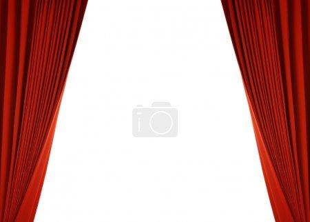 Photo pour Scène de théâtre avec rideau rouge (avec chemin - image libre de droit