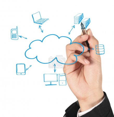 Photo pour Homme dessinant un diagramme Cloud Computing - image libre de droit