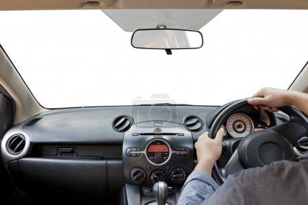 Photo pour Mains sur le volant, isolé sur un blanc - image libre de droit