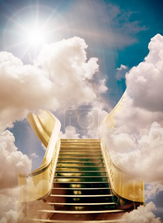 Photo for Golden stairway to heaven backgroun - Royalty Free Image