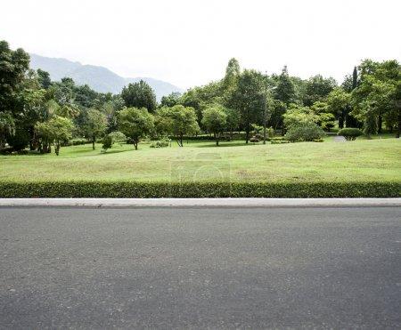 Photo pour Fond jardin de route côté vue - image libre de droit