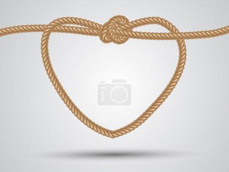 Photo pour Corde en forme de coeur sur fond blanc - image libre de droit