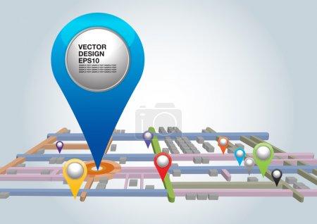 Illustration pour Plan de la ville avec des pointeurs. illustration vectorielle. - image libre de droit