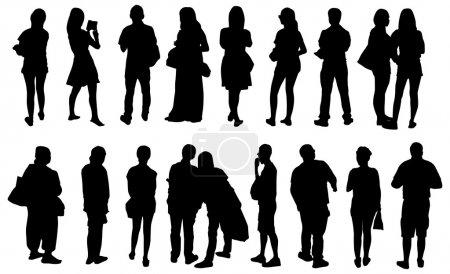 Photo pour Noir vue silhouettes peuples vecteur - image libre de droit