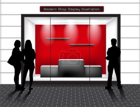 Photo pour Boutique vide avec fenêtres en verre et les peuples, vue de face . - image libre de droit