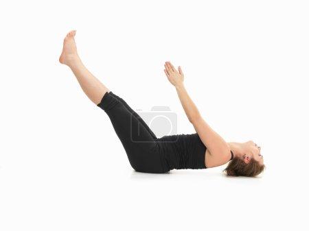 demonstration of advanced yoga posture