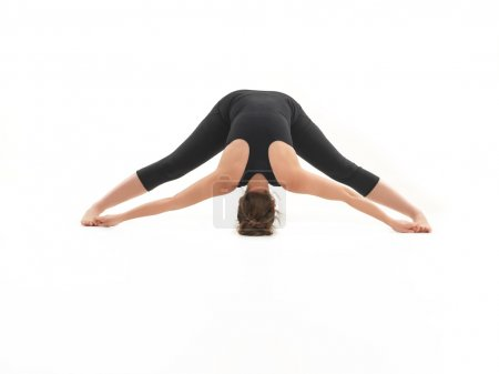 stretching yoga pose demonstration