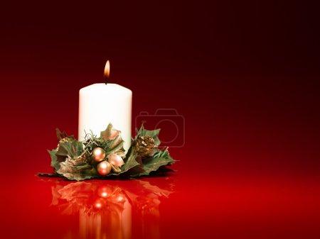 white christmas burning candle
