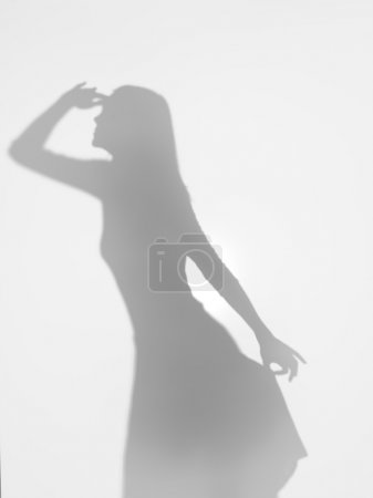 Photo for Female body silhouette gazing far away and holding her dress elegantly with one hand, behind a diffuse surface - Royalty Free Image