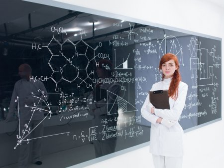schoolgirl at the blackboard