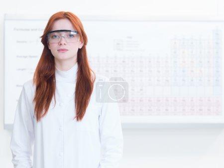 portrait of beautiful female scientist