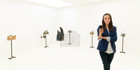 interview at sculpture exhibition