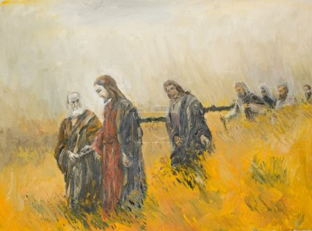 Photo pour Peinture à l'huile illustrant une scène religieuse, Jésus christ et ses disciples sur une prairie - image libre de droit