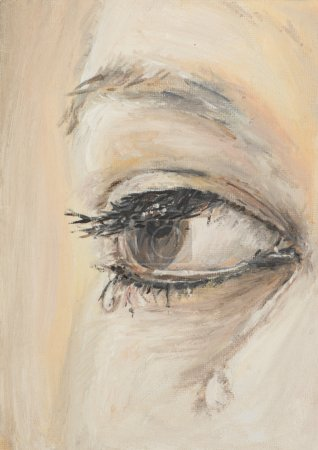 Photo for Oil painting illustrating a woman's eye with tears - Royalty Free Image