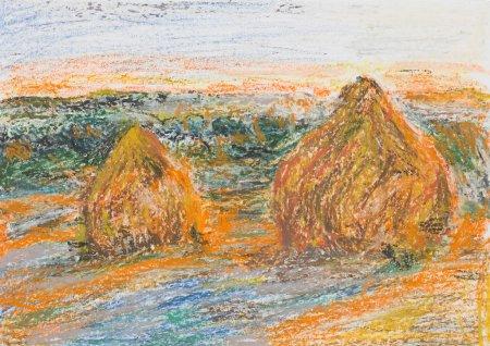 Photo pour Illustration pastel colorée dessinée à la main de deux meules de foin sur un champ - image libre de droit