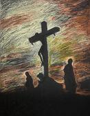 Ježíš ukřižován na Golgotě, pastelové technika