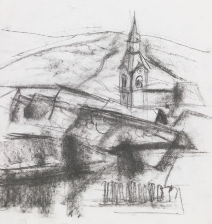 freehand drawing of village
