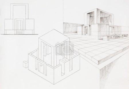 Photo pour Esquisse architecturale de box house, dessinée à la main - image libre de droit