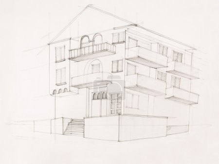 perspective view of modern house