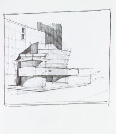Photo pour Main dessinée perspective architecturale du bâtiment administratif moderne - image libre de droit