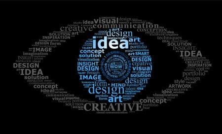 Illustration pour Concept de vision créative - symbole stylisé pour les yeux créé par typographie - image libre de droit