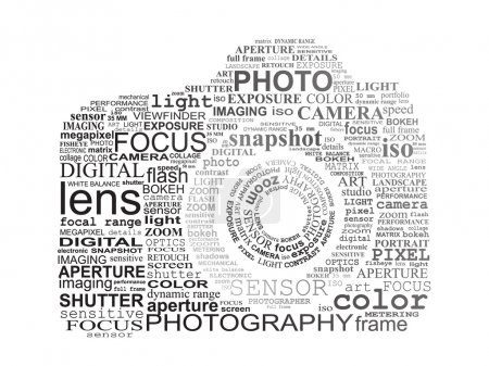 Illustration pour Appareil photo reflex typographique. Photographie et concept photo numérique . - image libre de droit